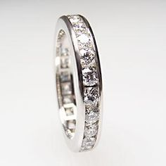 Tiffany & Co Channel-Set Band Ring With Diamonds Solid Platinum 3mm