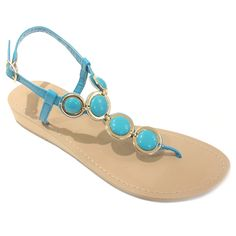 Feel on top of the world like a Grecian goddess in these enticing wedge sandals that are perfect for everyday wear. Breathtaking turquoise stones in goldtone casing will make your feet look and feel classy and elegant anywhere you go.