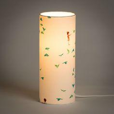Fabuleuse Factory HIRONDELLE - Lampe à poser Tube Tissu Motifs Bleu/Vert H30cm