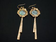 Gold bronze and paua shell earrings by Sabine Alienor