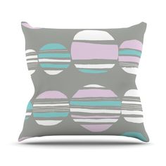 "Emine Ortega ""Retro Circles - Pastel"" Throw Pillow"