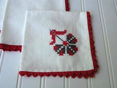 Vintage Red and Black Cross Stitch Napkins by PassedBy on Etsy, $14.00