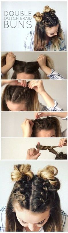 I'm super excited to show you how to do these adorable Double Dutch Braid Buns. I'm super excited to show you how to do these adorable Double Dutch Braid Buns! This half-up hairstyle is super trendy Dutch Braid Bun, Braid Buns, Dutch Braids, Messy Buns, Braids Easy, Fishtail Plaits, Dutch Hair, Plaited Buns, Braids Tutorial Easy