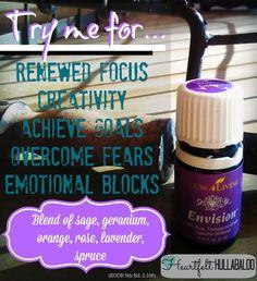 Young Living's Envision.  Try me for renewed focus, creativity, achieve goals, overcome fears, emotional blocks.  Blend of sage, geranium, orange, rose, lavender, spruce.  Heartfelt Hullabaloo #essentialoils