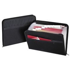 Globe Weis Zip File, Fabric, 13 Pockets, 14''x10'', A-Z, Monthly, Black