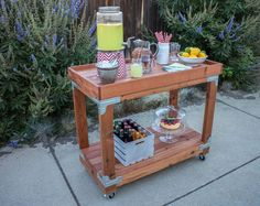 DIY bar cart. The bar cart project is convenient and easy for anyone who lives in a small space and needs some extra storage. I love that the bar cart has casters so we can wheel it to wherever we need.