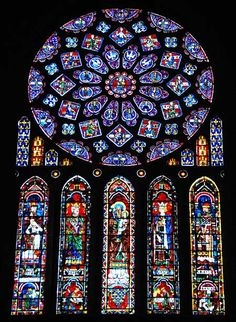 High Gothic Art  stained glass of Chartres  rose window and lancets  south transept  1194-1240 CE  Google Image Result for http://www.paradoxplace.com/Photo%2520Pages/France/Chartres/North_Rose/NR-Images/N-Windows-Sept07-DE7112sAR.jpg