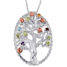 Family tree necklace with up to 7 birthstones family tree necklace black hills gold family tree birthstone necklace love the green rose gold leaves on aloadofball Gallery