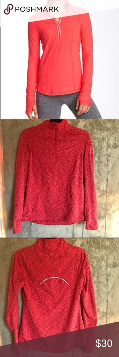 90 Degree Half Zip Long Sleeve Pullover (Dye Red) Trendy & comfy pullover with partial front zip closure & long raglan sleeves with Richard detail and thumb hole. Super necessary for morning runs or breezy evening strolls. Color is dye red. Worn two or three times and in excellent condition except for a small whole in the upper arm area which is unnoticeable when worn. Size Small which fits 4/6 in Lulu. (Brand tagged for exposure) lululemon athletica Tops Sweatshirts & Hoodies
