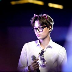 """His glasses and his ear cat are gave by the same person on their tlp in indonesia..how lucky :"""""""""""
