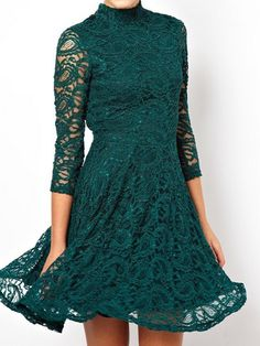 Green Hollow Out Lace Backless Dress