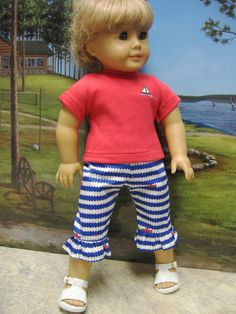 Nautical Capri Outfit for American Girl Doll by DollClothesByPeg, $9.99