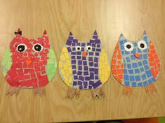 The Art of Integration : Complementary Colors and Mosaic Owls Yearbook Covers, Mondrian, Coloring For Kids, Teaching Art, Art Projects, Mosaic, Kids Rugs, Owls, Art Ideas