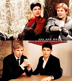 I like the idea of reincarnated Arthur and Merlin, Colin Morgan and Bradley James. YES!