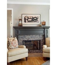 gray fireplace surround but with carrera marble tile