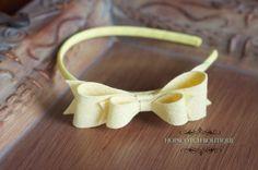 New Large Helen Simply Felt Bow Tie Headband in Yellow , Easter headband flower girl headband toddler headband girls headband