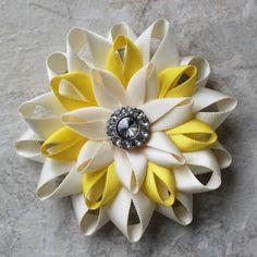 Flower Hair Clip Ivory and Yellow Hair Clip by PetalPerceptions