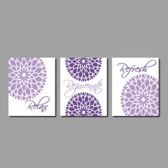 Fl Flower Flourish Wall Art Relax Rejuvenate Refresh Purple Grey Gray Bathroom Decor Picture Set Of 3 Prints Or Canvas
