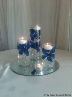 cylinder wedding centerpieces with blue water | Centerpieces | Arvay Event Design & Rental