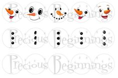 Snowman Faces and Buttons for Bottle Cap by PreciousBeginnings, $2.00