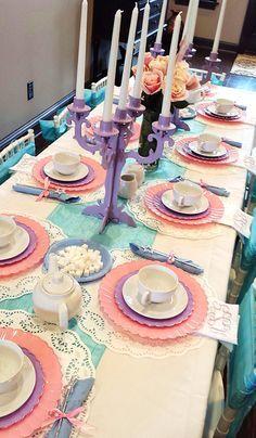 A Princess Tea Party – Children's Birthday Party | Girl's Birthday Party Ideas | Purple Chandalier | Tea Party Table | Kids Tea Party
