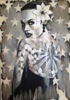 Terry Bradley - Girl with the Angel Tattoo Sound Of Raindrops, Bad To The Bone, Heart Art, The Conjuring, Amazing Art, Cool Art, Angel, Canvas Prints, Statue