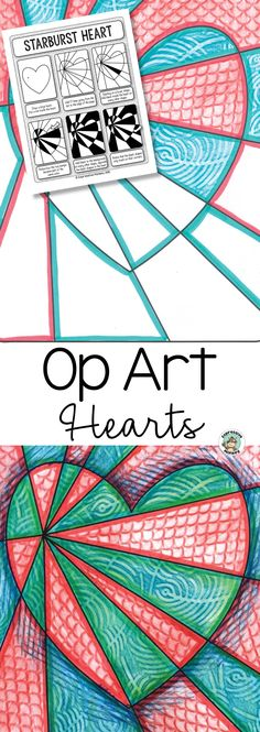 Create a show-stopping Valentine's Day art display with this Op Art Hearts art lesson! #opartheart #iteachart