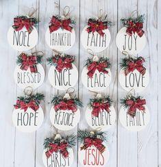 Wooden Christmas Ornaments Rae Dunn Inspired Set of 3 | Etsy...