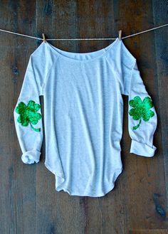 Sequin Four Leaf Clover Shamrock Elbow Patch St by ICaughtTheSun (Maybe for st.Patrick day parade?)