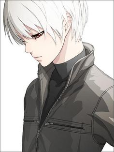 Anime Guy with Black Hair | Anime Boy With Short White Hair And Black Clothes - white-boy