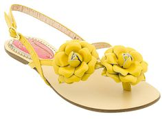 Yellow flower sandal flat