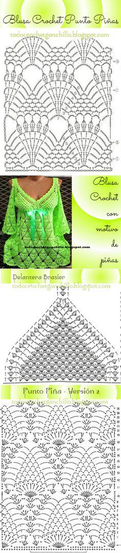 42 Ideas Crochet Blusas Patrones Ganchillo For 2019 Crochet Diagram, Crochet Motif, Crochet Designs, Crochet Lace, Crochet Stitches, Crochet Tank Tops, Crochet Shirt, Crochet Vests, Crochet Pillow Patterns Free