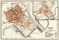 Map of old Sfax, Tunisia where Kurt traveled to complete his mission. Casablanca, Dawn, Vintage World Maps