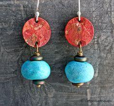 Copper dangle earrings. Handmade blue ceramic by CopperLarkStudio