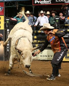 Frank Newsom steps in front of a bulls to save a cowboy.