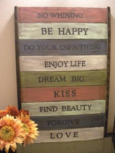 Repurposed Painted Wood Sign  Family Rules by Imprendere on Etsy, $60.00