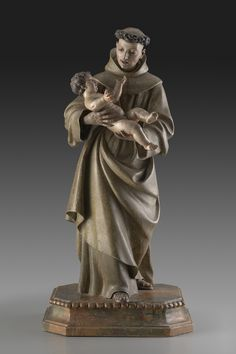 Spanish (Sevillian) 18th Century Anonymous, Saint Anthony of Padua holding the Christ Child, c.1700, Polychromed wood and ivory. Meadows Museum Sculpture and Decorative Arts Collection