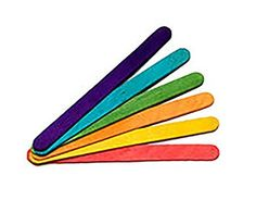 """Durable, Strong & Non-Toxic {4.5"""" x .38"""" Inch} 150 Bulk Pack of Mid Size Multi-Purpose Craft Sticks for DIY, Food, Beauty & More, Made of Baltic Birch Wood w/ Rainbow Stained Style {Assorted Colors}"""