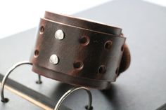 Men's bracelet Wide wristband bracelet Leather by WarmHeartHouse