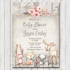 Wallflower Events by WallflowerEvents Baby Girl Shower Themes, Baby Shower Invites For Girl, Baby Shower Invitations, Woodland Baby, Woodland Animals, Woodland Flowers, Forest Animals, Rustic Invitations, Printable Invitations