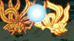 Naruto and Minato in Tailed Beast Mode, with the former using Sage Mode as well.