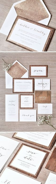 What happens when you combine wood and rose gold glitter? Why rustic glam wedding invitations of course! The Heather Suite from /engagingpapers/ is packed full of all the essentials including the save the dates, programs, menu and table numbers.