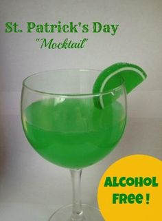 St. Patrick's Day Mocktail  Ingredients:   1 Can of Limeade Frozen Concentrate  1 2L bottle of Lemon-Lime Soda  1 drop liquid green food coloring  Jelly Lime Candy for Garnish        Instructions    In each glass, add 1 teaspoon of the frozen concentrate (straight from the freezer – don't thaw it first).  Fill the rest of the glass with the lemon lime soda, and add 1 drop of green food coloring.  Garnish as desired.