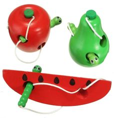 나무 교육 아기 과일 장난감 판매 학습 스레드 시작 작업 어린이 키즈 물린 다채로운 발달 웜 먹고 장난감