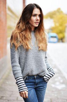 Heather, stripes, jeans