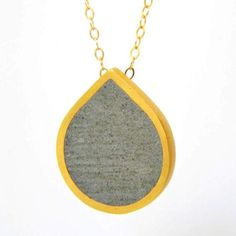 Drop Concrete and Gold Pendant Necklace, by BAARA Jewelry.