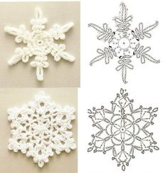 Irish lace, crochet, crochet patterns, clothing and decorations for the house, crocheted. Crochet Snowflake Pattern, Crochet Stars, Crochet Motifs, Crochet Snowflakes, Crochet Flower Patterns, Crochet Designs, Crochet Doilies, Crochet Flowers, Crochet Christmas Ornaments