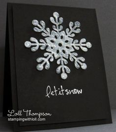Rustic Snowflake Holiday Card, Set of 6, Handmade, Brown, Winter ...