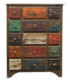 Arco 7 Drawer Multi Color Chest of Drawers Rustic Western Real Wood Cabin Lodge Distressed Dresser, Distressed Furniture, Recycled Furniture, Refurbished Furniture, Shabby Chic Furniture, Rustic Furniture, Furniture Makeover, Painted Furniture, Diy Furniture