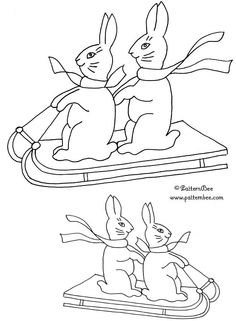Cute little rabbits on a sled in this FREE embroidery design from www.patternbee.com